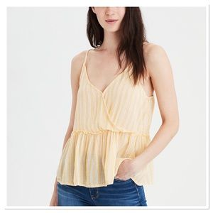 American Eagle Outfitters Striped Peplum Top M